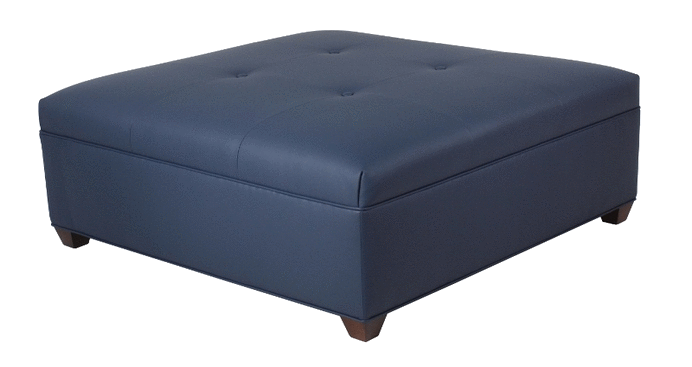 2042 Square Ottoman With Seamed Button Top/ Tapered Leg