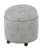 2518 Round Ottoman with Center Button Top/Casters